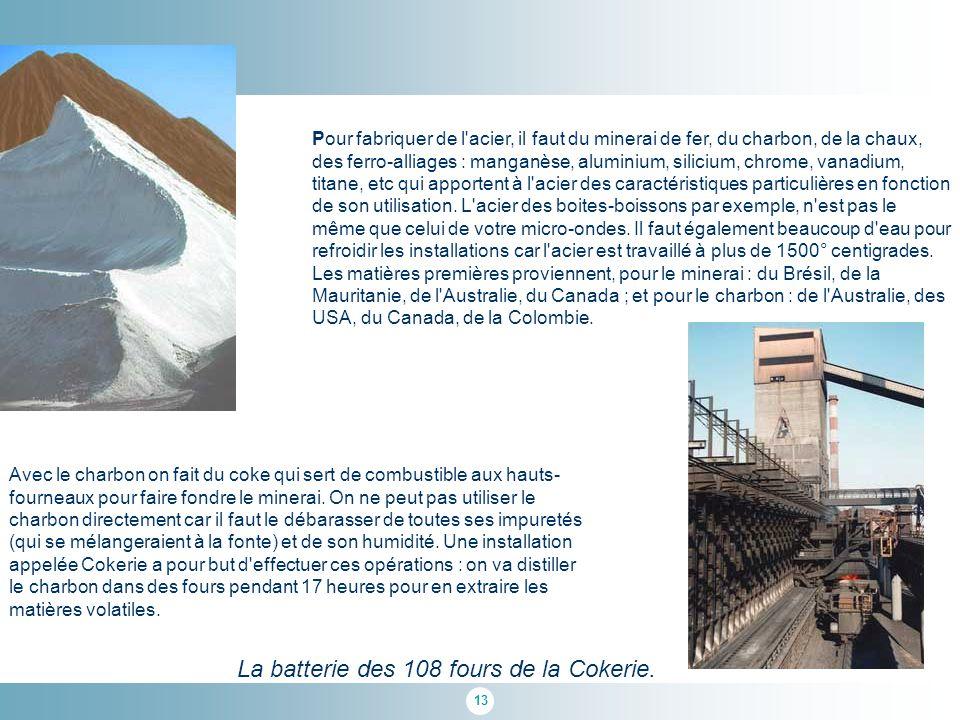 13 Pour fabriquer de l acier, il faut du minerai de fer, du charbon, de la chaux, des ferro-alliages : manganèse, aluminium, silicium, chrome, vanadium, titane, etc qui apportent à l acier des caractéristiques particulières en fonction de son utilisation.