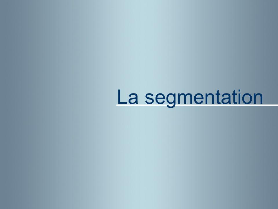 3 Définitions : Segment : Math / Mécanique / … Économie : Sous-ensemble homogène Segmenter : Sociologie : Découper une population en catégories d individus Segmentation : Biol : Division affectant le zygote juste après la fécondation, qui donne naissance à des blastomères La segmentation Achats : Catégories / sous-ensembles homogène = Fournisseurs possédants les même savoir faire / moyens.