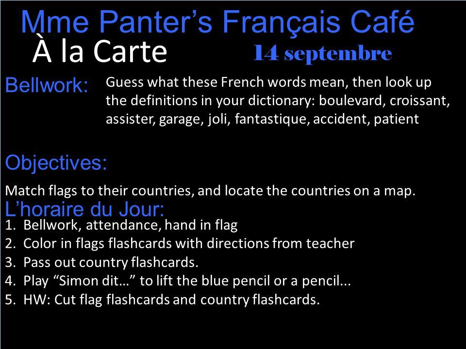 la France Je vous présente le drapeau français.Le drapeau est bleu, blanc, et rouge.