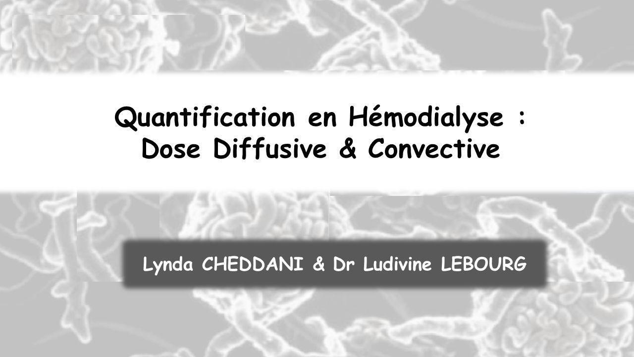 Quantification en Hémodialyse : Dose Diffusive & Convective Lynda CHEDDANI & Dr Ludivine LEBOURG