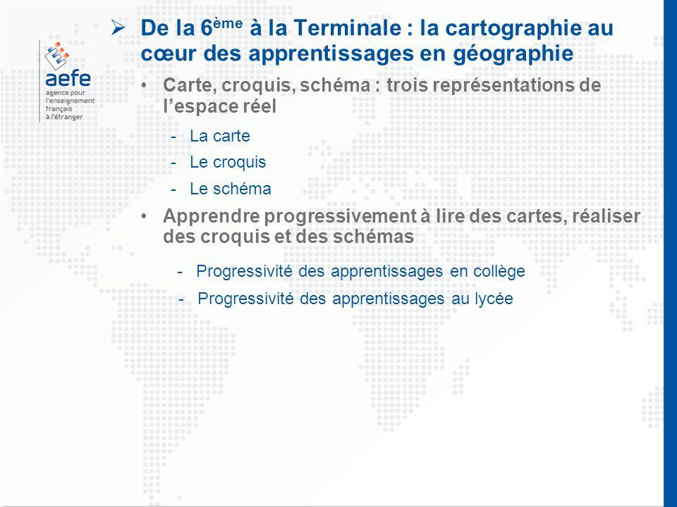  De la 6 ème à la Terminale : la cartographie au cœur des apprentissages en géographie Carte, croquis, schéma : trois représentations de l'espace rée
