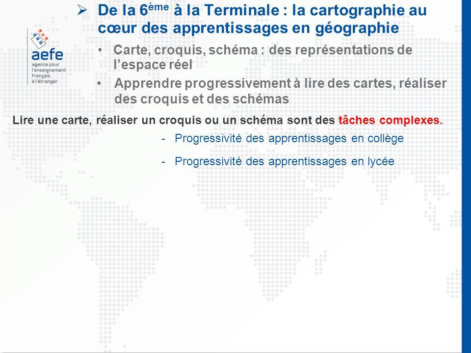  De la 6 ème à la Terminale : la cartographie au cœur des apprentissages en géographie Carte, croquis, schéma : des représentations de l'espace réel