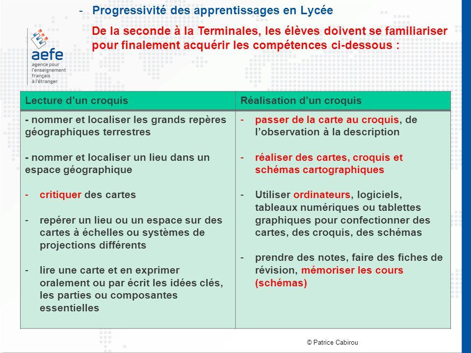-Progressivité des apprentissages en Lycée Lecture d'un croquisRéalisation d'un croquis - nommer et localiser les grands repères géographiques terrest