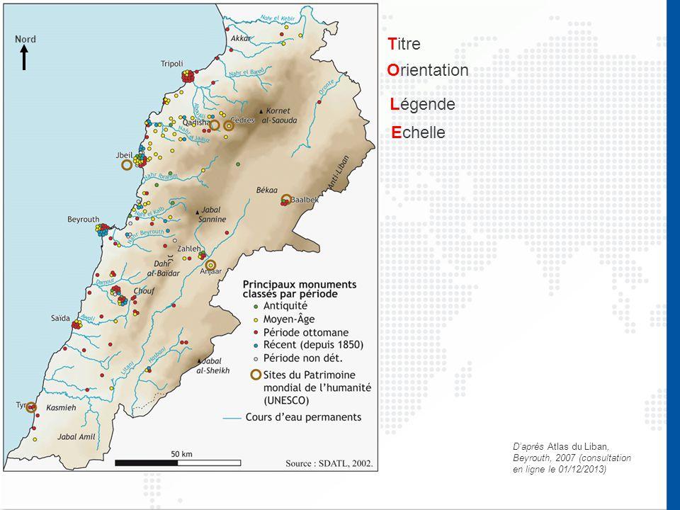 D'après Atlas du Liban, Beyrouth, 2007 (consultation en ligne le 01/12/2013) Titre Orientation Légende Echelle Nord
