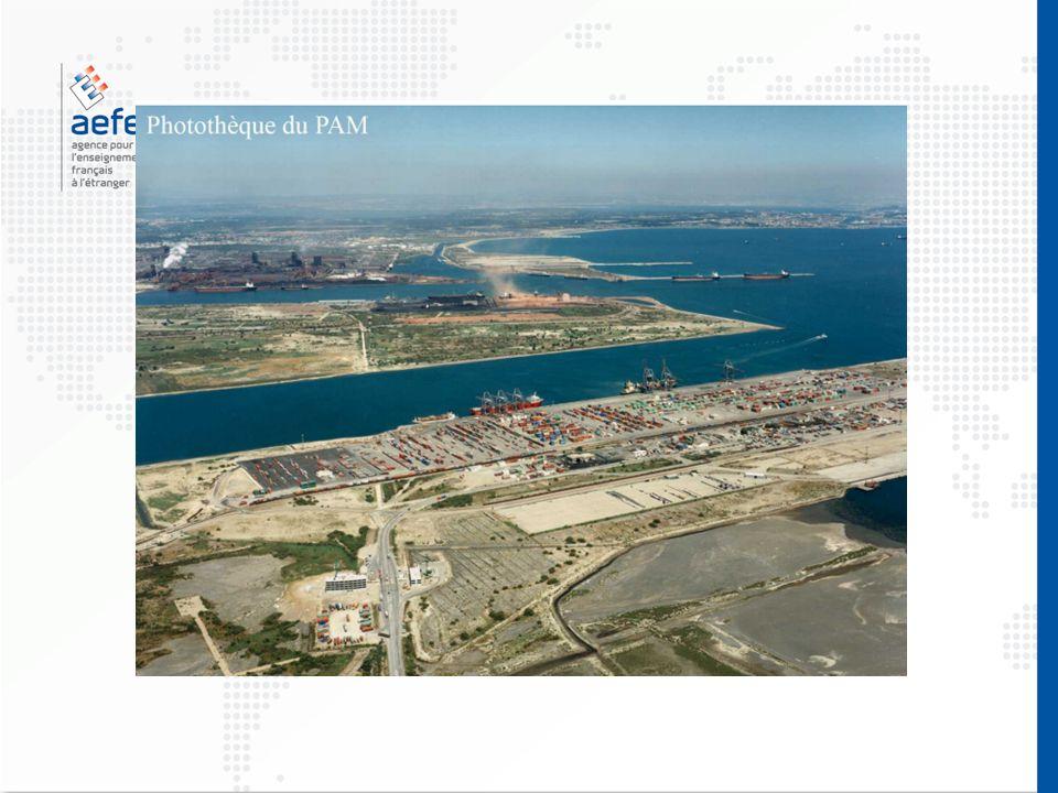 Mer Méditerranée A Fos, le littoral est équipé de ports pour recevoir des bateaux transportant du pétrole, des minerais et des conteneurs (caisses de même dimension pouvant être transportée par un bateau, un train ou un camion).