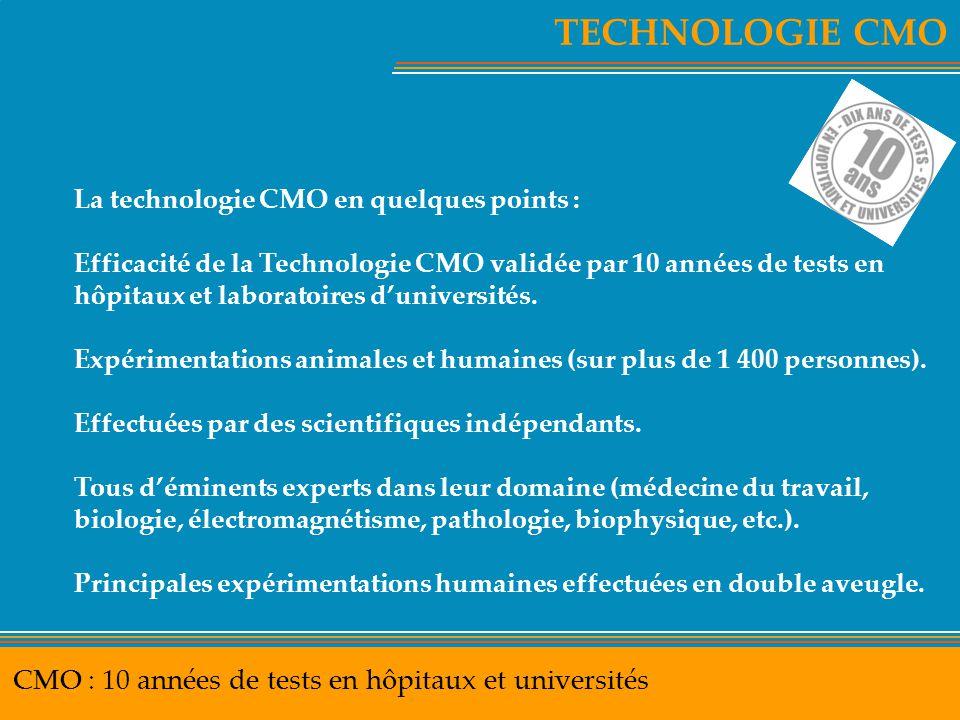 TECHNOLOGIE CMO CMO : 10 années de tests en hôpitaux et universités La technologie CMO en quelques points : Efficacité de la Technologie CMO validée p