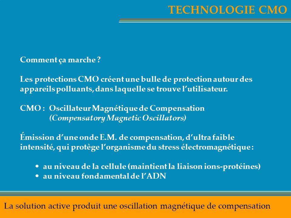 TECHNOLOGIE CMO La solution active produit une oscillation magnétique de compensation Comment ça marche ? Les protections CMO créent une bulle de prot