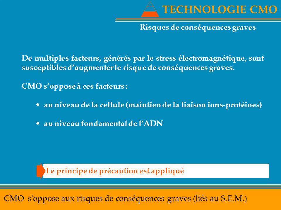 TECHNOLOGIE CMO CMO s'oppose aux risques de conséquences graves (liés au S.E.M.) Le principe de précaution est appliqué De multiples facteurs, générés