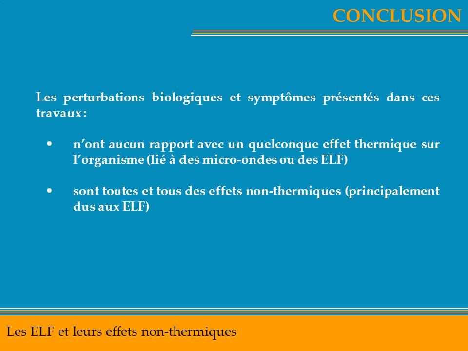 CONCLUSION Les ELF et leurs effets non-thermiques Les perturbations biologiques et symptômes présentés dans ces travaux : n'ont aucun rapport avec un
