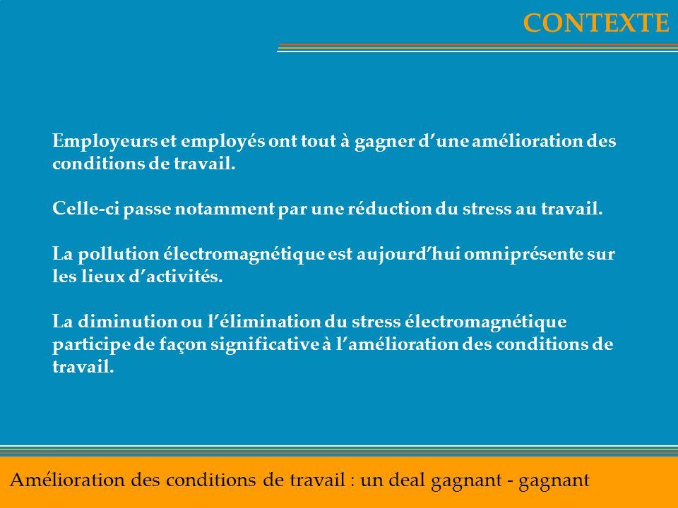CONTEXTE Amélioration des conditions de travail : un deal gagnant - gagnant Employeurs et employés ont tout à gagner d'une amélioration des conditions