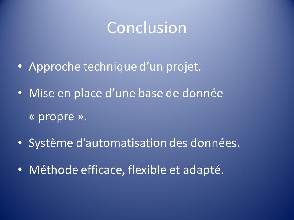 Conclusion Approche technique d'un projet. Mise en place d'une base de donnée « propre ». Système d'automatisation des données. Méthode efficace, flex