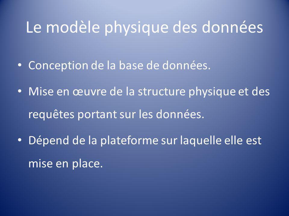 Le modèle physique des données Conception de la base de données. Mise en œuvre de la structure physique et des requêtes portant sur les données. Dépen