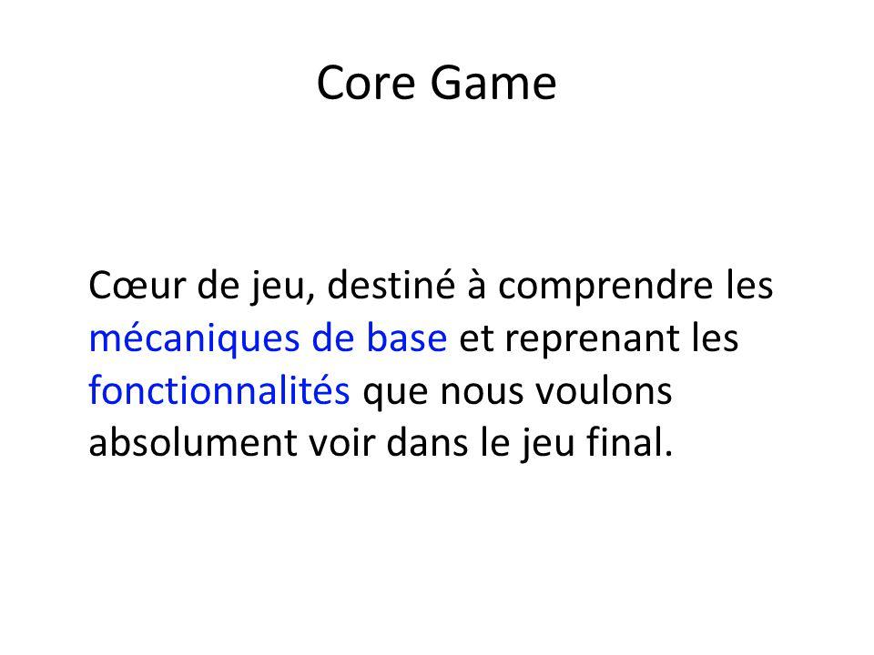 Core Game Cœur de jeu, destiné à comprendre les mécaniques de base et reprenant les fonctionnalités que nous voulons absolument voir dans le jeu final.