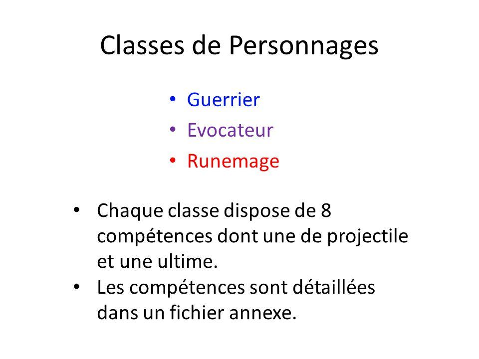 Classes de Personnages Guerrier Evocateur Runemage Chaque classe dispose de 8 compétences dont une de projectile et une ultime.