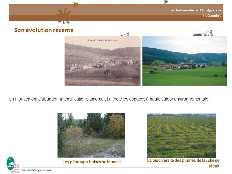 Les Automnales 2011 – Agrapole 7 décembre Son évolution récente Un mouvement d'abandon-intensification s'amorce et affecte les espaces à haute valeur environnementale..