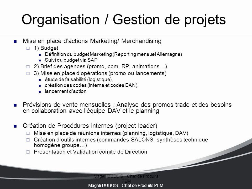 Magali DUBOIS - Chef de Produits PEM Organisation / Gestion de projets Mise en place d'actions Marketing/ Merchandising  1) Budget Définition du budg