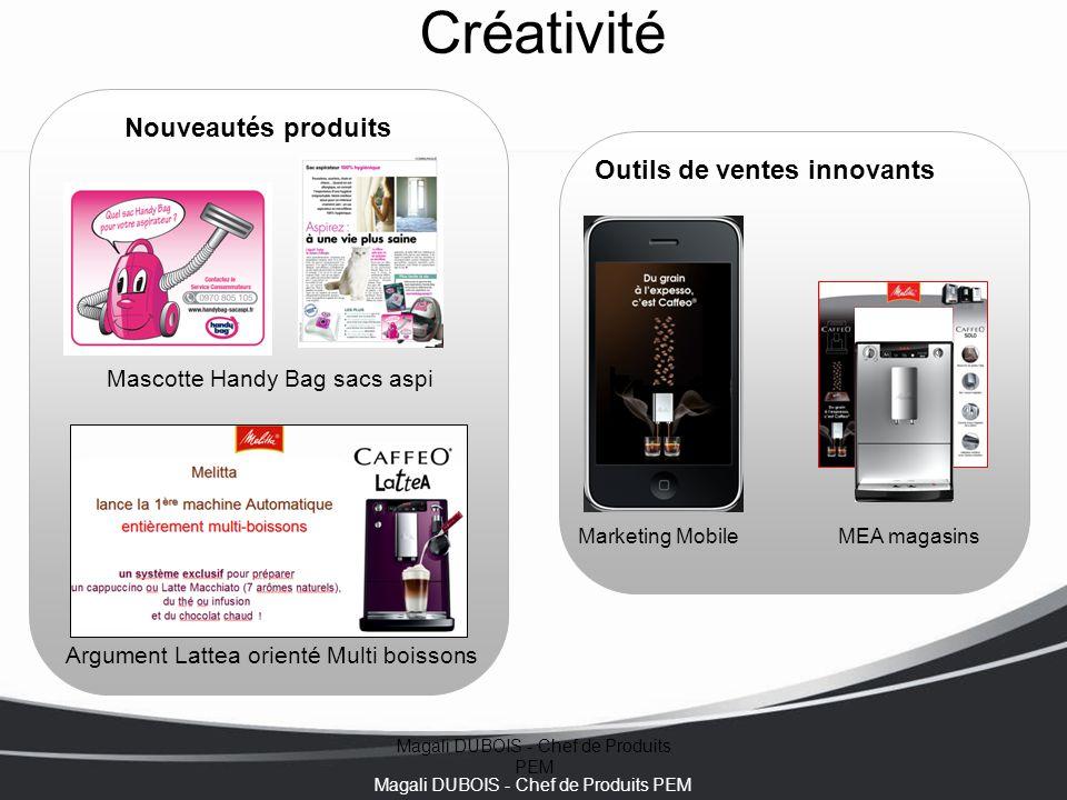 Magali DUBOIS - Chef de Produits PEM Créativité Marketing Mobile Outils de ventes innovants Nouveautés produits MEA magasins Mascotte Handy Bag sacs a