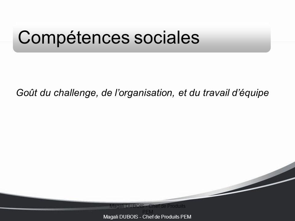 Magali DUBOIS - Chef de Produits PEM Compétences sociales Goût du challenge, de l'organisation, et du travail d'équipe
