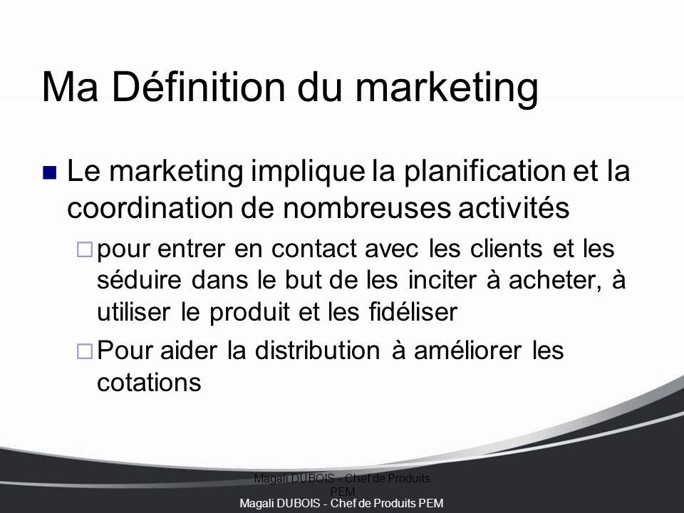Magali DUBOIS - Chef de Produits PEM Ma Définition du marketing Le marketing implique la planification et la coordination de nombreuses activités  po
