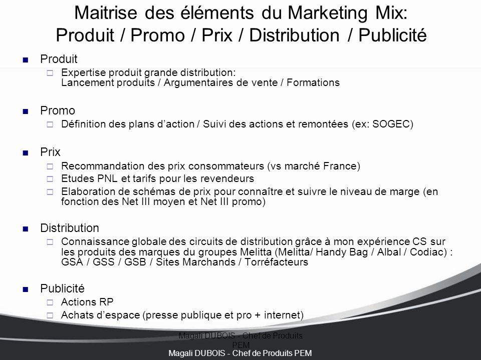 Magali DUBOIS - Chef de Produits PEM Maitrise des éléments du Marketing Mix: Produit / Promo / Prix / Distribution / Publicité Expertise Produits PEM Actions Promotionnelles Prix Distribution Publicité .