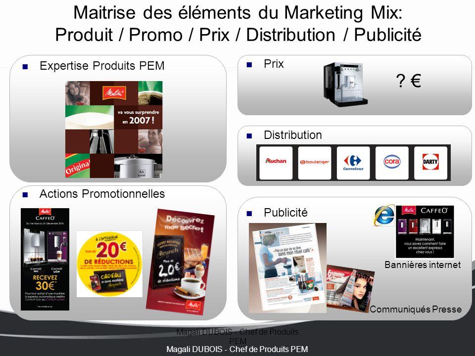 Magali DUBOIS - Chef de Produits PEM Maitrise des éléments du Marketing Mix: Produit / Promo / Prix / Distribution / Publicité Expertise Produits PEM