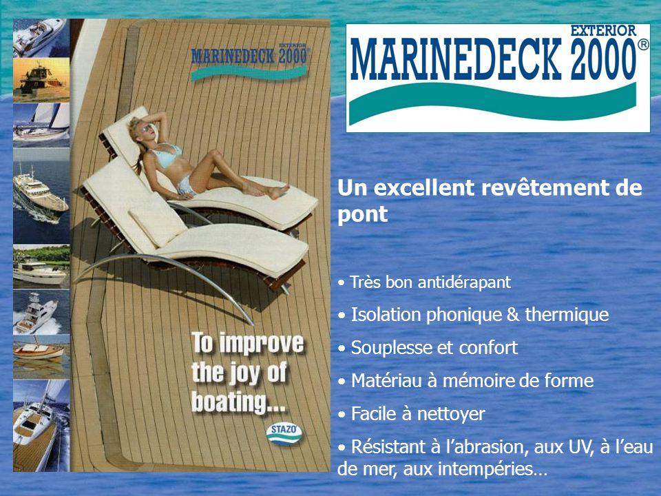 Un excellent revêtement de pont Très bon antidérapant Isolation phonique & thermique Souplesse et confort Matériau à mémoire de forme Facile à nettoyer Résistant à l'abrasion, aux UV, à l'eau de mer, aux intempéries…
