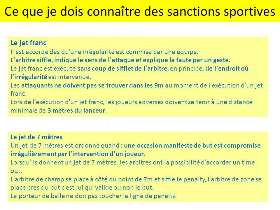 Ce que je dois connaître des sanctions sportives Le jet franc Il est accordé dès qu'une irrégularité est commise par une équipe. L'arbitre siffle, ind