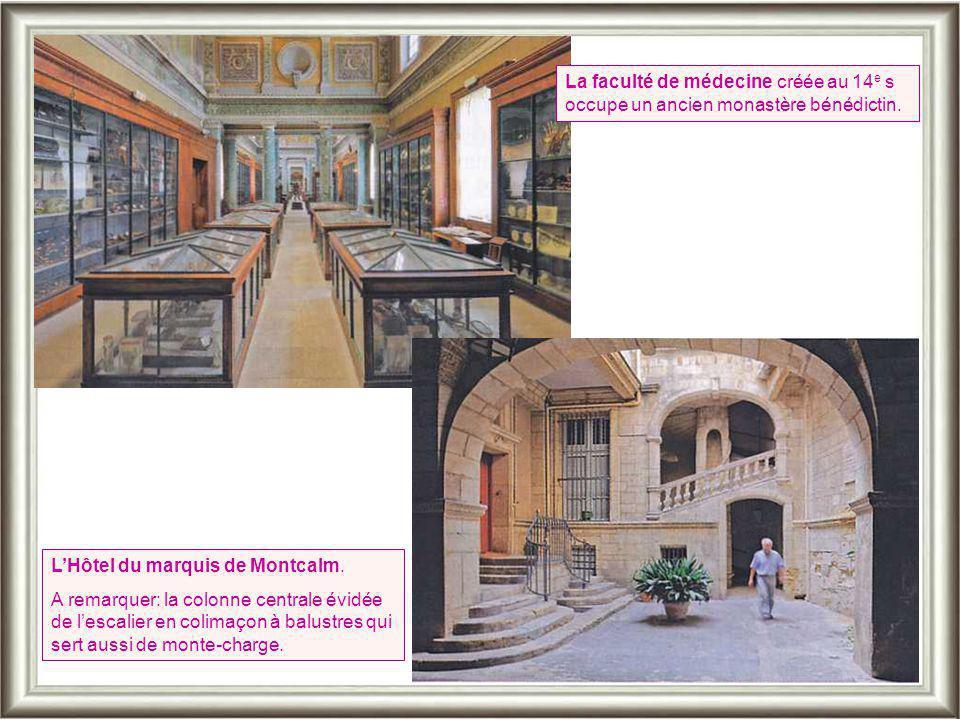 Place St-Roch avec trompe l'œil mural de Vincent Ducaroy, de l'atelier montpelliérain « 7 e Sens », spécialisé depuis 20 ans dans les fresques et déco
