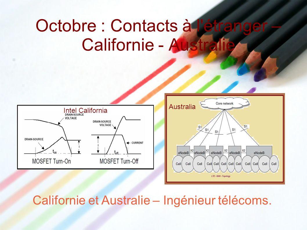 Octobre : Contacts à l'étranger – Californie - Australie Californie et Australie – Ingénieur télécoms. Australia Intel California