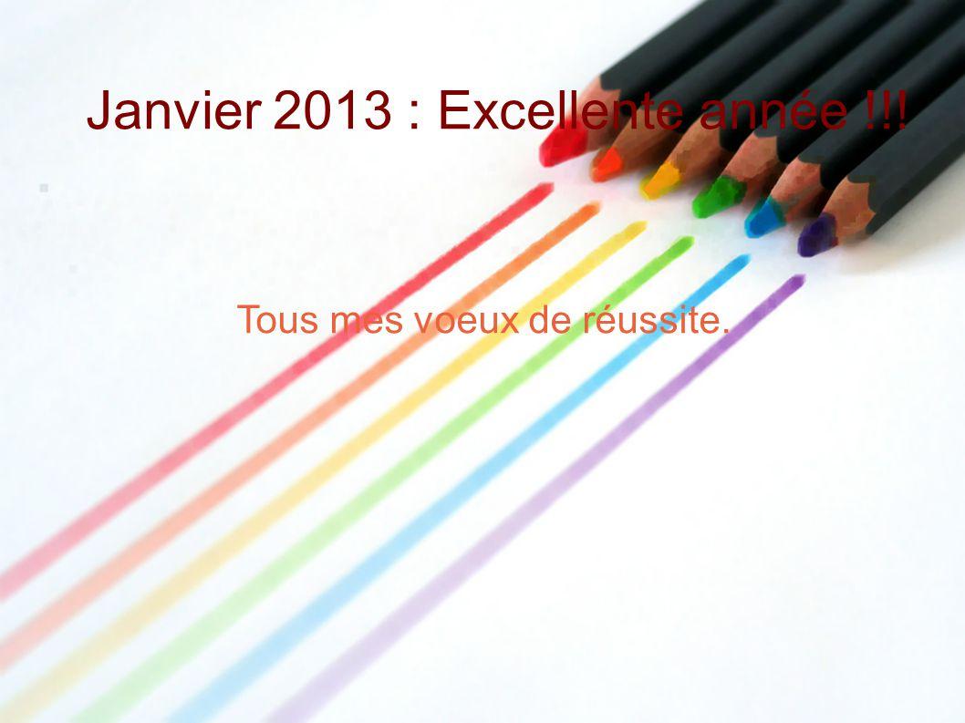 Janvier 2013 : Excellente année !!! Tous mes voeux de réussite.