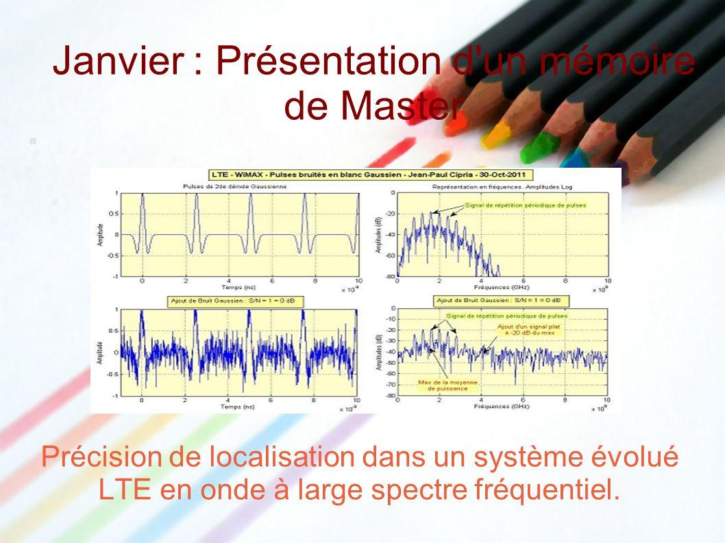 Précision de localisation dans un système évolué LTE en onde à large spectre fréquentiel. Janvier : Présentation d'un mémoire de Master