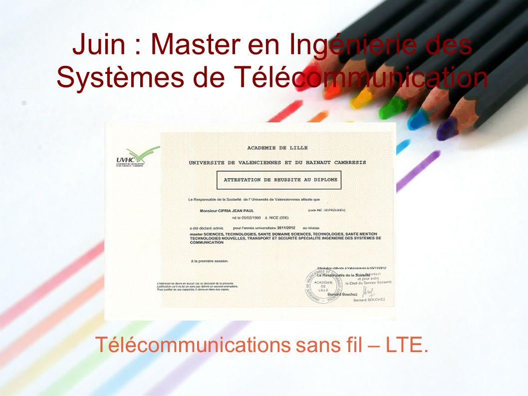 Juin : Master en Ingénierie des Systèmes de Télécommunication Télécommunications sans fil – LTE.
