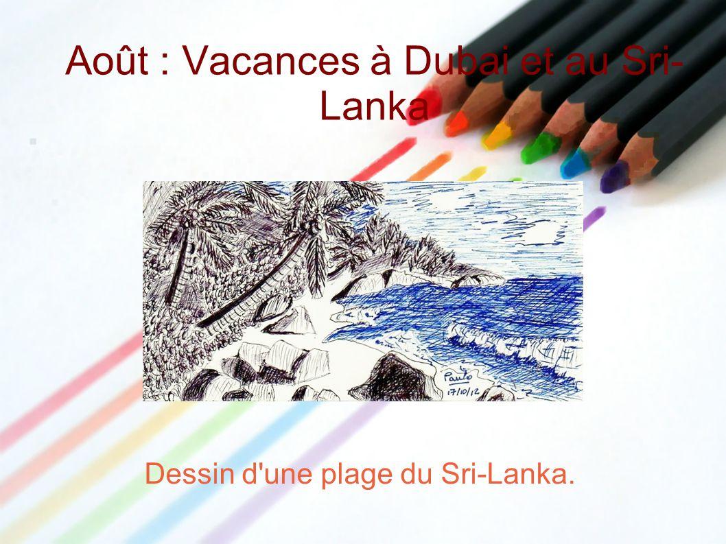 Août : Vacances à Dubai et au Sri- Lanka Dessin d'une plage du Sri-Lanka.