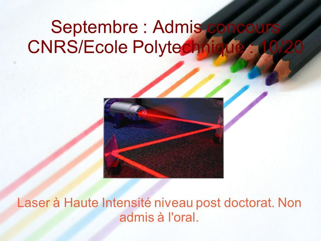 Septembre : Admis concours CNRS/Ecole Polytechnique : 10/20 Laser à Haute Intensité niveau post doctorat. Non admis à l'oral.