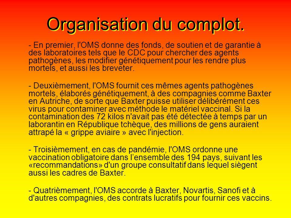 Organisation du complot.