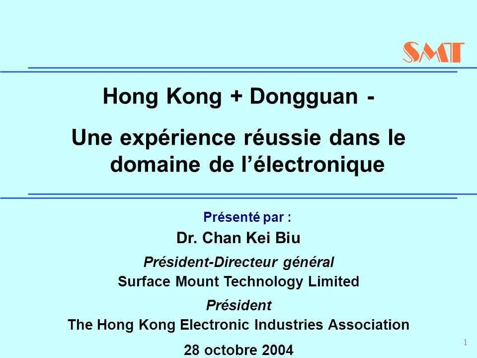 1 Présenté par : Dr. Chan Kei Biu Président-Directeur général Surface Mount Technology Limited Président The Hong Kong Electronic Industries Associati