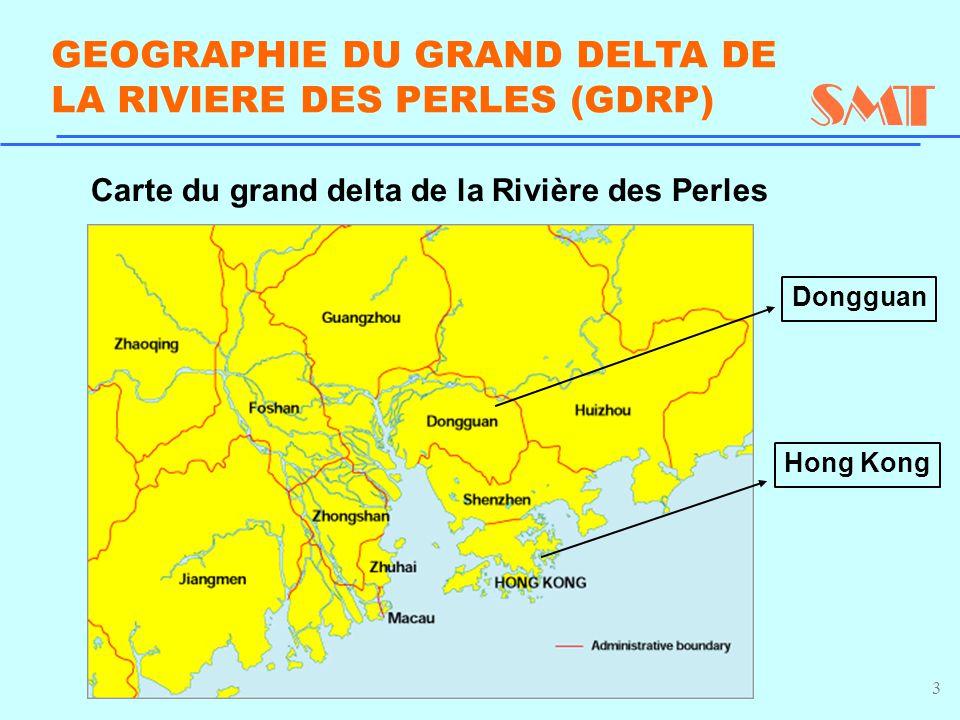 3 GEOGRAPHIE DU GRAND DELTA DE LA RIVIERE DES PERLES (GDRP) Dongguan Hong Kong Carte du grand delta de la Rivière des Perles