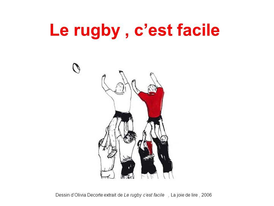 Le rugby, c'est facile Dessin d'Olivia Decorte extrait de Le rugby c'est facile, La joie de lire, 2006