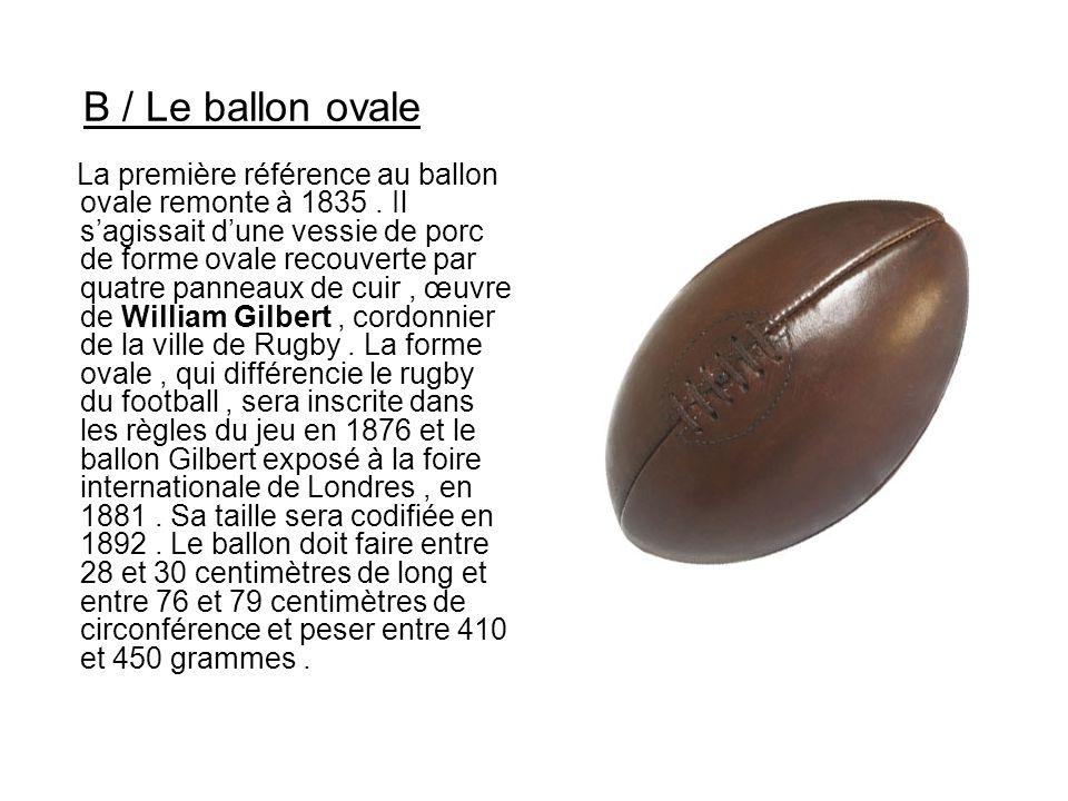 B / Le ballon ovale La première référence au ballon ovale remonte à 1835. Il s'agissait d'une vessie de porc de forme ovale recouverte par quatre pann