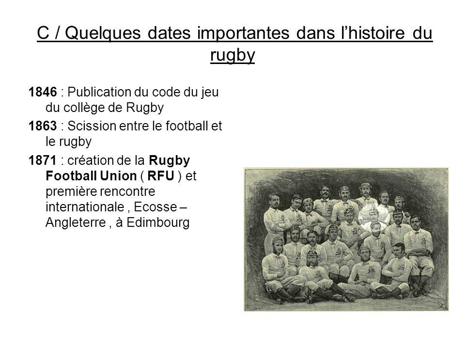 C / Quelques dates importantes dans l'histoire du rugby 1846 : Publication du code du jeu du collège de Rugby 1863 : Scission entre le football et le