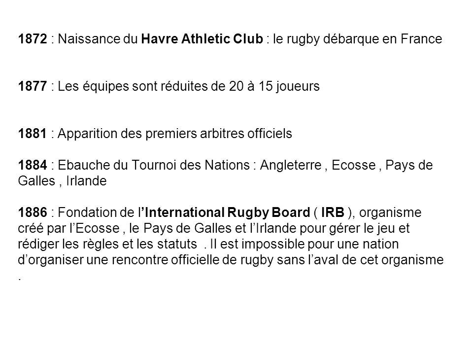 1872 : Naissance du Havre Athletic Club : le rugby débarque en France 1877 : Les équipes sont réduites de 20 à 15 joueurs 1881 : Apparition des premie