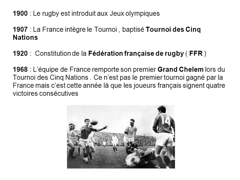 1900 : Le rugby est introduit aux Jeux olympiques 1907 : La France intègre le Tournoi, baptisé Tournoi des Cinq Nations 1920 : Constitution de la Fédé