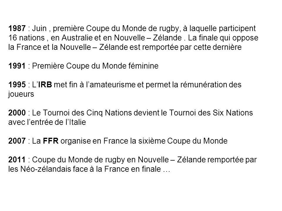 1987 : Juin, première Coupe du Monde de rugby, à laquelle participent 16 nations, en Australie et en Nouvelle – Zélande. La finale qui oppose la Franc