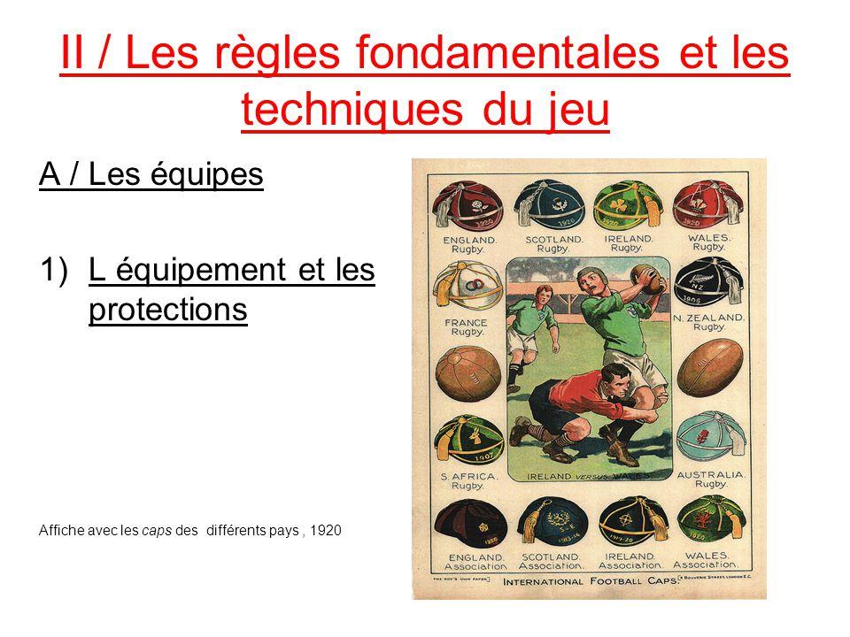 II / Les règles fondamentales et les techniques du jeu A / Les équipes 1)L équipement et les protections Affiche avec les caps des différents pays, 19