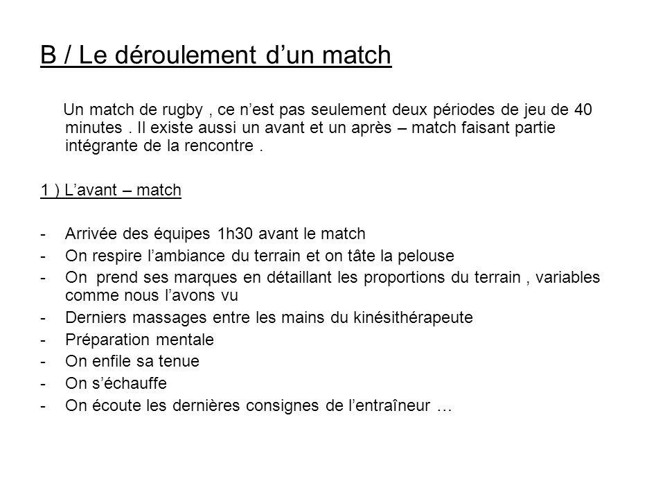 B / Le déroulement d'un match Un match de rugby, ce n'est pas seulement deux périodes de jeu de 40 minutes. Il existe aussi un avant et un après – mat