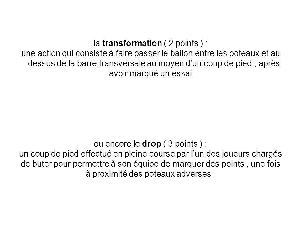 la transformation ( 2 points ) : une action qui consiste à faire passer le ballon entre les poteaux et au – dessus de la barre transversale au moyen d