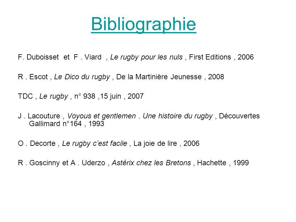 Bibliographie F. Duboisset et F. Viard, Le rugby pour les nuls, First Editions, 2006 R. Escot, Le Dico du rugby, De la Martinière Jeunesse, 2008 TDC,