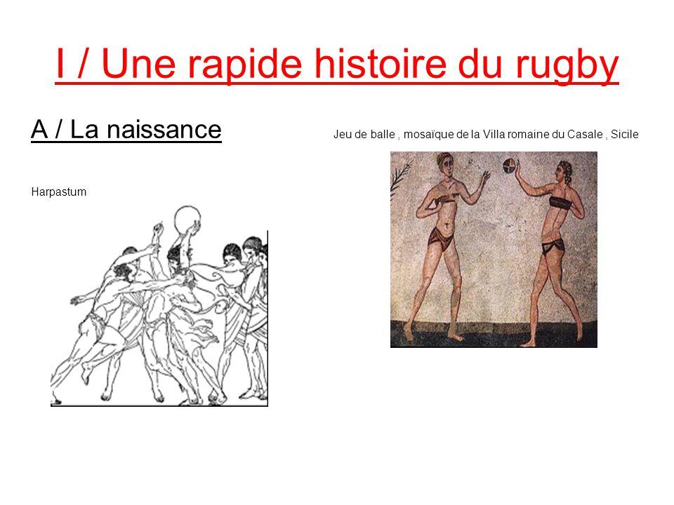 I / Une rapide histoire du rugby A / La naissance Jeu de balle, mosaïque de la Villa romaine du Casale, Sicile Harpastum