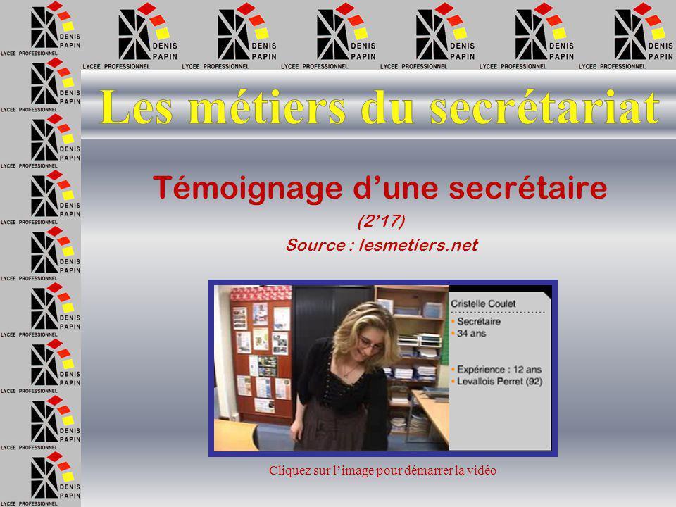 En visionnant les vidéos, vous compléterez la page 2 du questionnaire « Les métiers du secrétariat »