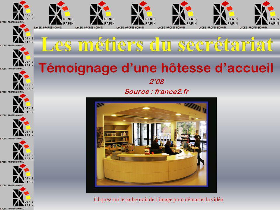 Témoignage d'une secrétaire médicale 2'53 Source : onisep.fr Cliquez sur le cadre noir de l'image pour démarrer la vidéo